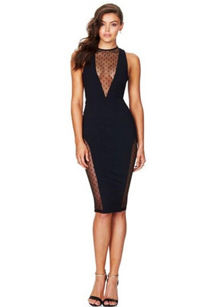 Black Patchwork Grenadine Zipper Cut Out Bodycon Prom Evening Party Midi Dress