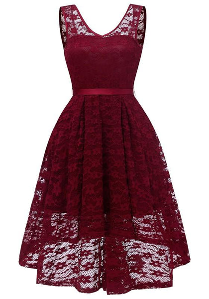 Burgundy Lace Draped Sashes Bow V-neck Banquet Elegant Party Midi Dress