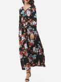 ByChicStyle Floral Printed Exquisite V Neck Maxi-dress - Bychicstyle.com