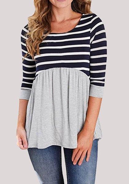 Grey Striped Print Pleated Round Neck Casual T-Shirt