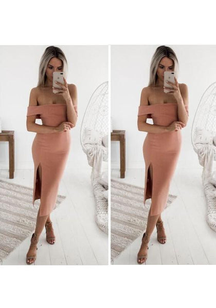 Pink Plain Cut Out Boat Neck Midi Dress