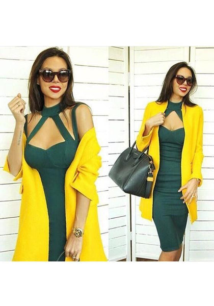 Green Cut Out Round Neck Elegant Midi Dress