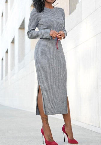 Grey Striped Double Slit Round Neck Long Sleeve Sweater Midi Dress