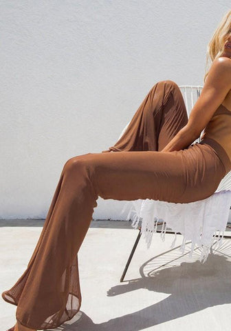 Brown Grenadine Sheer High Waisted Flare Fashion Long Pants