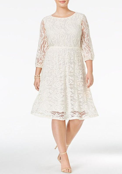 White Floral Lace Pleated Cut Out Plus Size Elegant Birthday Party Midi Dress
