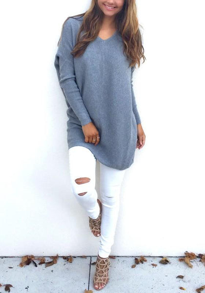 Grey Plain Oversized V-neck Long Sleeve Fashion Knit Loose Jumper Pullover Sweater