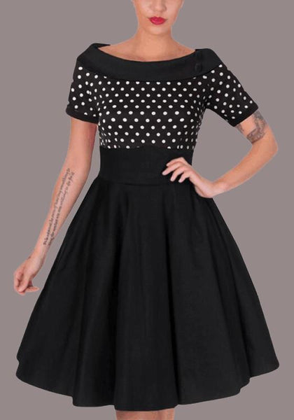 Black Polka Dot Pleated Buttons Off Shoulder Tutu Elegant Homecoming Party Midi Dress