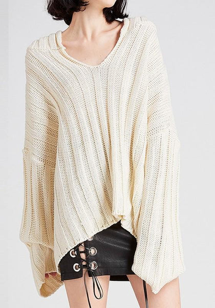 Beige Hooded Oversize Long Sleeve Fashion Pullover Sweater