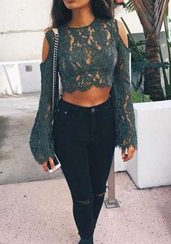 Army Green Patchwork Lace Cut Out Midriff Round Neck Blouse