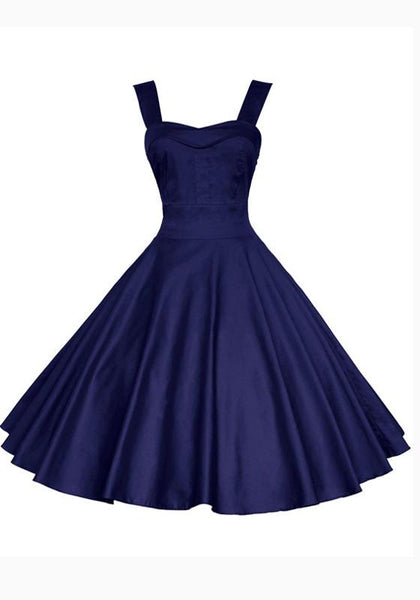 Navy Blue Pleated Shoulder-Strap Backless Tutu Banquet Hepburn Elegant Party Midi Dress