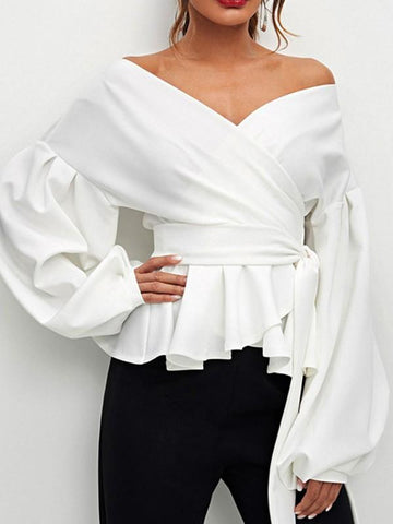 New White Ruffle Sashes Boat Neck Long Sleeve Fashion Blouse