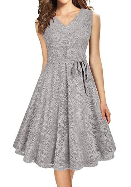 Grey Sashes Draped Lace V-neck Bodycon Banquet Elegant Party Midi Dress