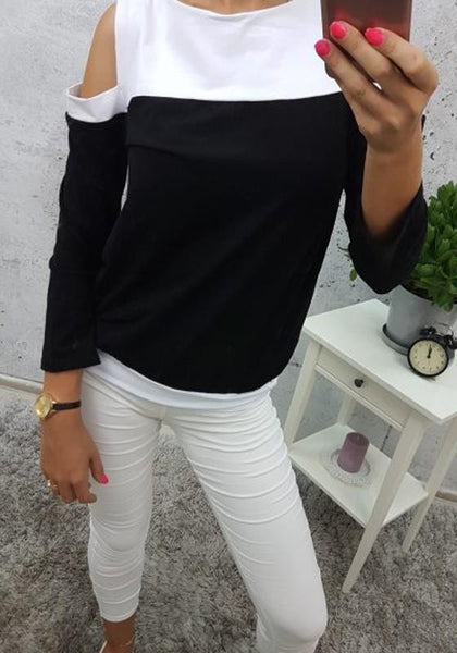 Black Cut Out Sleeve Round Neck Casual T-Shirt