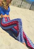 ByChicStyle Blue Tribal Print High Waisted Party Bohemian Wide Leg Long Pants