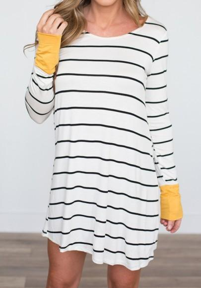 Casual New Women White Striped Draped Round Neck Streetwear Knit Mini Dress