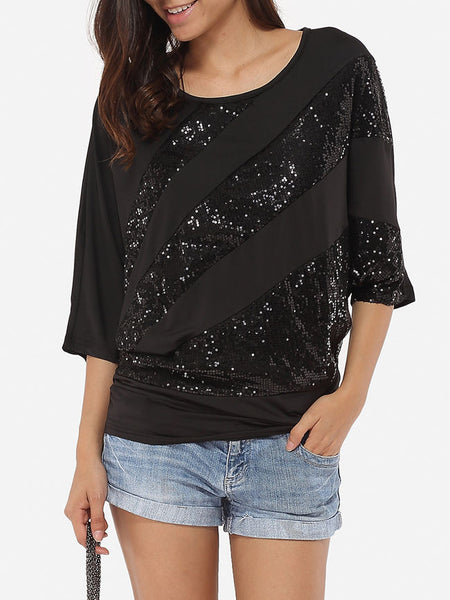 Paillette Round Neck Dacron Short-sleeve-t-shirt - Bychicstyle.com