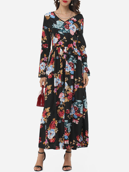 Floral Printed Exquisite V Neck Maxi-dress - Bychicstyle.com