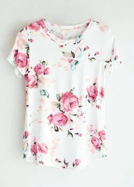 Casual Fashion Teenage Round Neckline Little Floral Print Top
