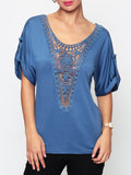 ByChicStyle Hollow Out Lace Patchwork Plain Designed Round Neck Short-sleeve-t-shirt - Bychicstyle.com