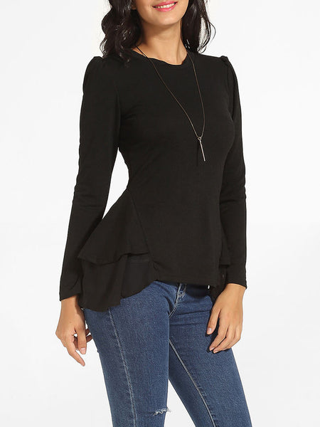 Crew Neck Plain Cotton Long Sleeve T-shirt - Bychicstyle.com