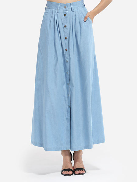 Loose Fitting Pockets Denim Plain Maxi-skirt - Bychicstyle.com