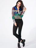 ByChicStyle Casual Band Collar Printed Jacket