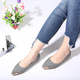 ByChicStyle Casual Large Size Ponited Toe Slip On Sequined Flat Casual Shoes