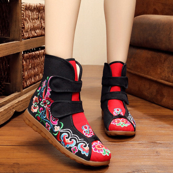 Casual Color Match Hook Loop Canvas Ankle Embroidery Flat Flower Vintage Boots