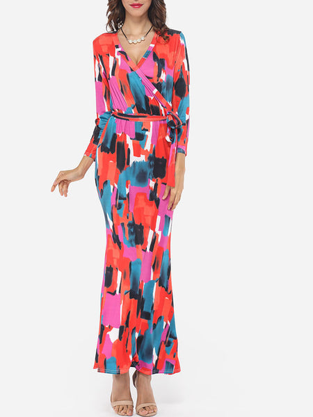 V Neck Dacron Printed Maxi Dress - Bychicstyle.com