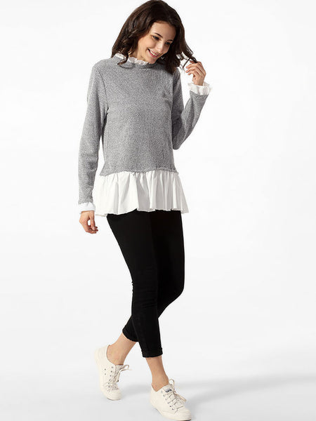 Crew Neck Ruffled Hem Patchwork Sweater - Bychicstyle.com
