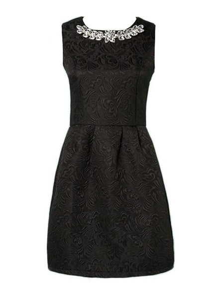 Jacquard Weave Graceful Round Neck Skater Dress - Bychicstyle.com