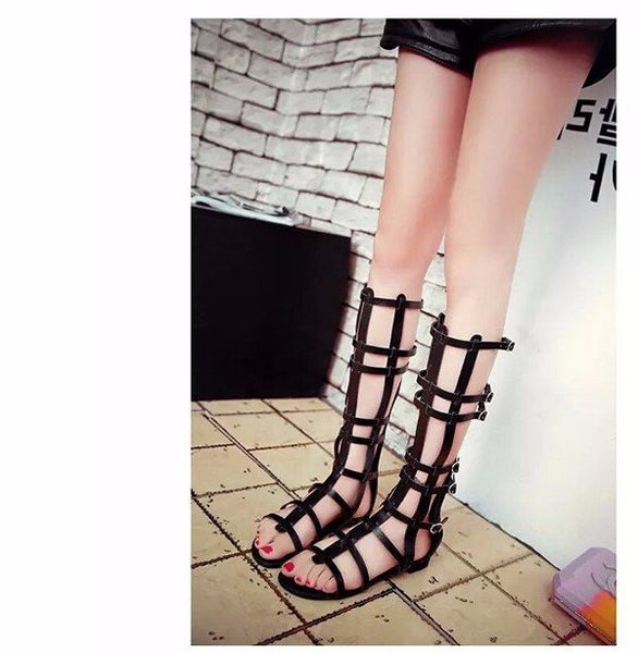 Black Hollow Out Mid Calf Zipper Buckle Peep Toe Strappy Flat Roman Gladiators Sandals
