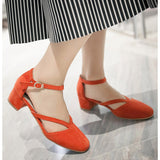 ByChicStyle Casual Big Size Suede Mary Jane Chunky Heel Elegant Shoes