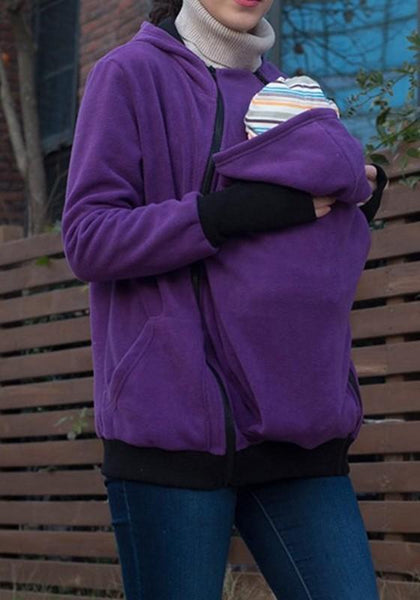 Purple Multi-functional Zipper Kangaroo Baby Bags Hooded Cardigan Sweatshirt
