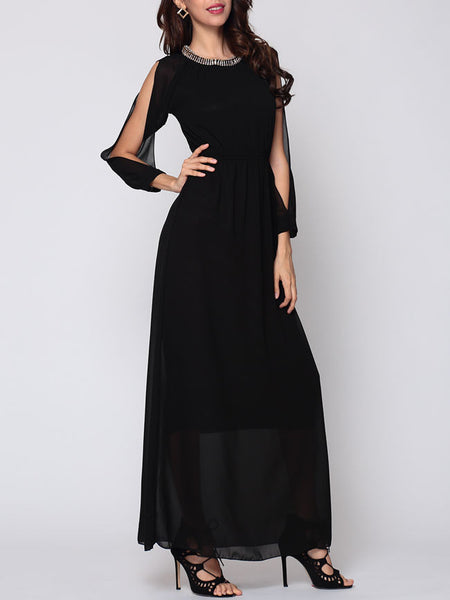Casual Plain Split Sleeve Elegant Maxi-dress
