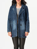ByChicStyle Lapel Single Breasted Denim Coat - Bychicstyle.com