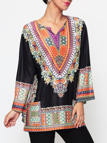 Casual Assorted Colors Tribal Printed Batwing Mandarin Sleeve V Neck Blouse