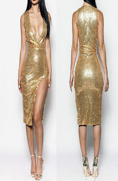 Golden Patchwork Gold Sequin Side Slit Deep V-neck Las Vegas Party Midi Dress