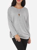 ByChicStyle Plain Loose Fitting Delightful Round Neck Long-sleeve-t-shirt - Bychicstyle.com