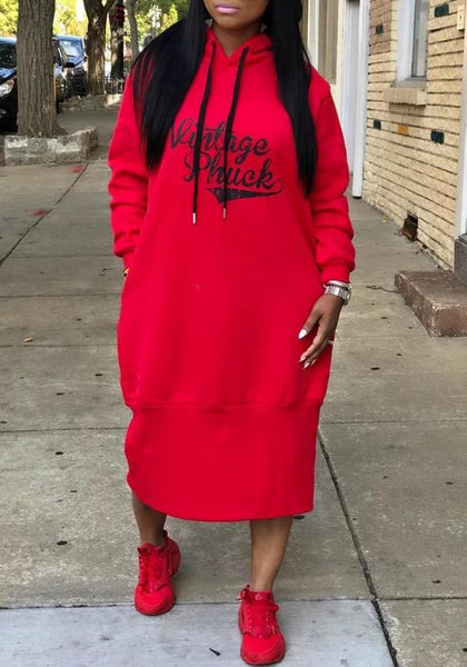 Red Monogram Print Drawstring Pockets Long Sleeve Hooded Sweatshirt Midi Dress