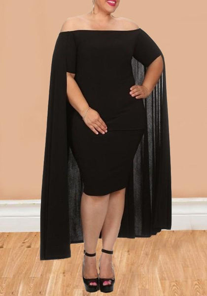 Black Off Shoulder Backless Plus Size Bodycon Cocktail Party Midi Dress With Cape