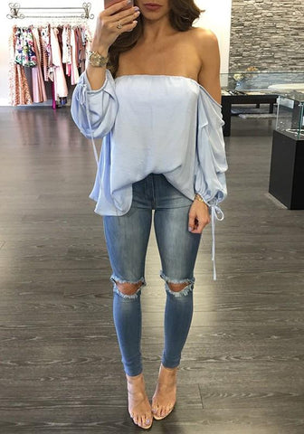 Light Blue Plain Bandeau Off Shoulder Boat Neck Lantern Sleeve Casual Blouse