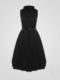 ByChicStyle Shawl Collar Single Breasted Plain Skater Dress - Bychicstyle.com