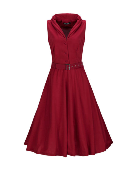 Shawl Collar Single Breasted Plain Skater Dress - Bychicstyle.com