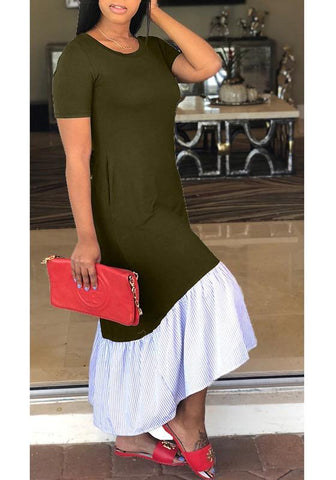 Army Green Draped Bodycon Pockets Mermaid Round Neck Casual Going out Maxi Dress