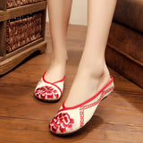 ByChicStyle Casual Hibiscus Embroidered Slippers Elegant Canvas Casual Shoes