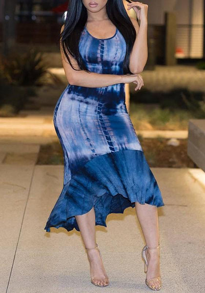 Blue Patchwork Irregular Ruffle High-low Tie Dye Bodycon Elegant Midi Dress
