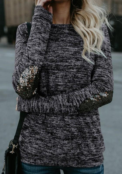 Grey Patchwork Sequin Round Neck Long Sleeve T-Shirt