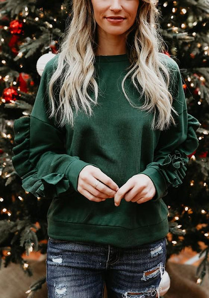 Green Cascading Ruffle Round Neck Long Sleeve Fashion Pullover Sweatshirt