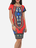 ByChicStyle Bohemian Printed Round Neck Bodycon-dress - Bychicstyle.com